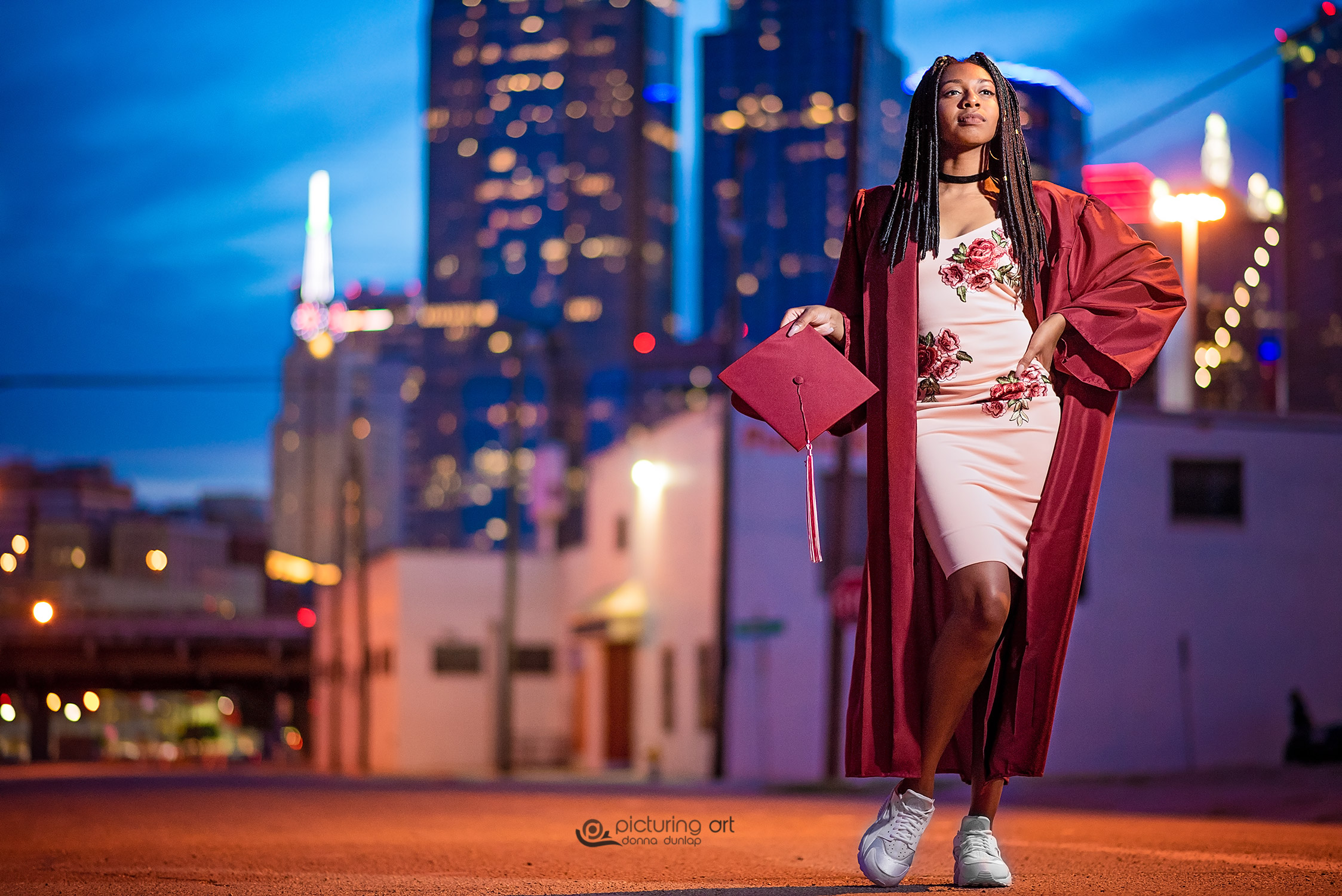 dallas, dallas texas, dallas tx, urban, skyline, night, night lights, graduate cap, senior, senior pic, senior pictures, grad, graduate, girl, graduation cap, fusion