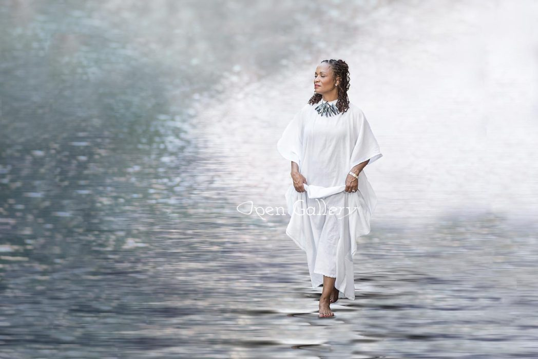 walking on water, fine art, art, white gown, angel, natural hair, African American, water, picturing art, donna dunlap, lifestyle